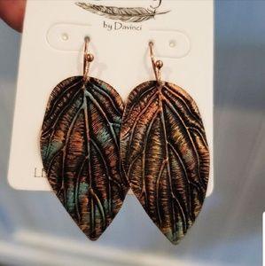 Jewelry - Story by Davinci Patina Leaf Earrings